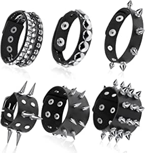 Hicarer 6 Pieces Punk Studded Bracelet Rivets Bracelet Leather Rivets Bracelet Cuff for Halloween