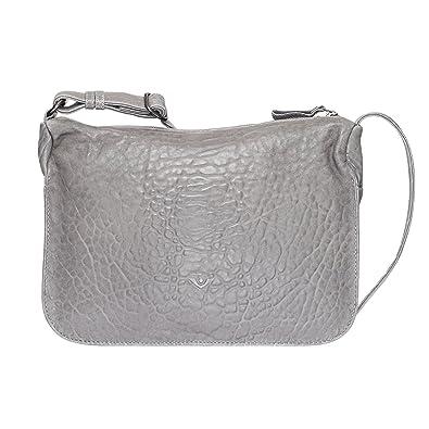 VOi Umhängetasche 21859 Leder Damen Satteltasche Crossover Bag elegante Schultertasche genarbtes Leder in Stahl Grau Voi vfxVa