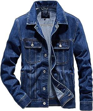 デニムジャケット メンズボタン付き刺繡裾 コットンクロップドディストレストリラックスフィットデニムコート 長袖ジャケット