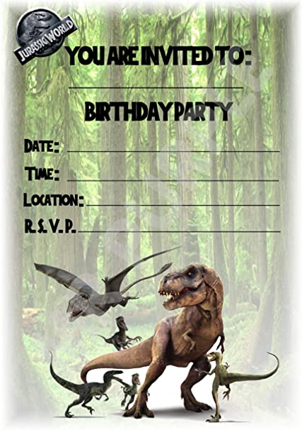 paquete de 12 invitaciones A5 Invitaciones de fiesta de cumplea/ños Jurassic World decoraciones de fiesta WITH Envelopes dise/ño de retrato de dinosaurio accesorios