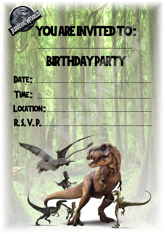 Invitaciones de fiesta de cumpleaños Jurassic World, diseño de retrato de dinosaurio, decoraciones de fiesta, accesorios (paquete de 12 invitaciones ...