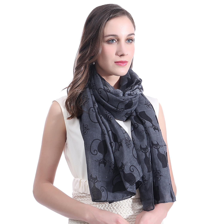 b53fcc3de850c Lina & Lily Écharpe Foulard pour Femme Imprimé Chat (Blanc): Amazon.fr:  Vêtements et accessoires