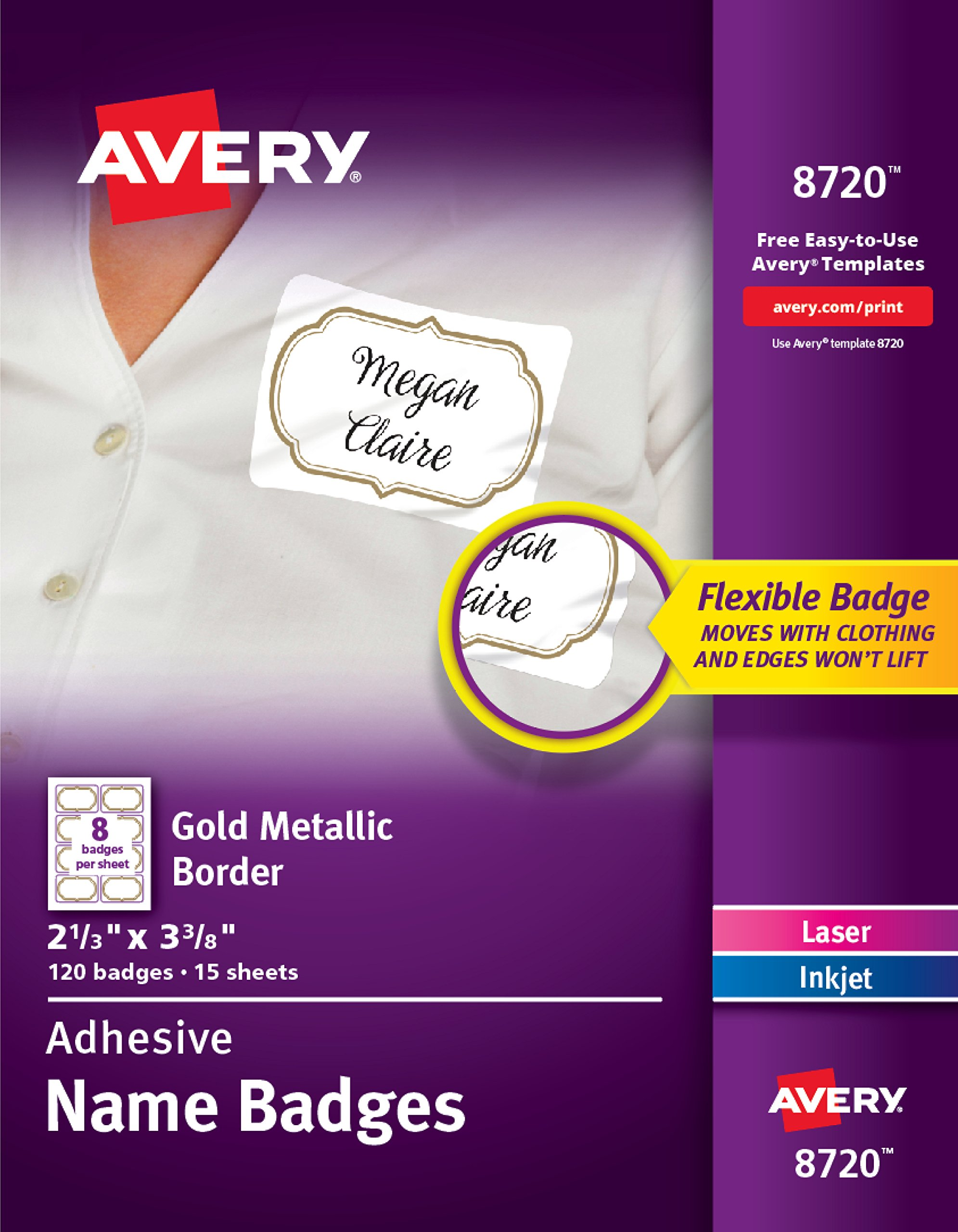 avery self adhesive removable name tag labels gold metallic border