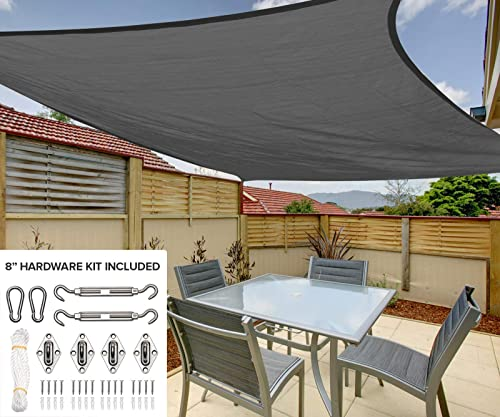 12 x16 Rectangle Sun Shade Sail Canopy in Stone Grey – Durable Outdoor Patio Cover Pergola Awning – Heavy Duty 8 inch Stainless Steel Hardware Kit 12 x16 Rectangle, Stone Grey