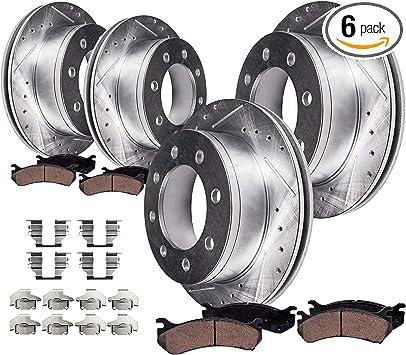 4 Rotors 8 Front Rear Ceramic Pad Fits 2001-2010 Chevrolet Silverado 2500 HD