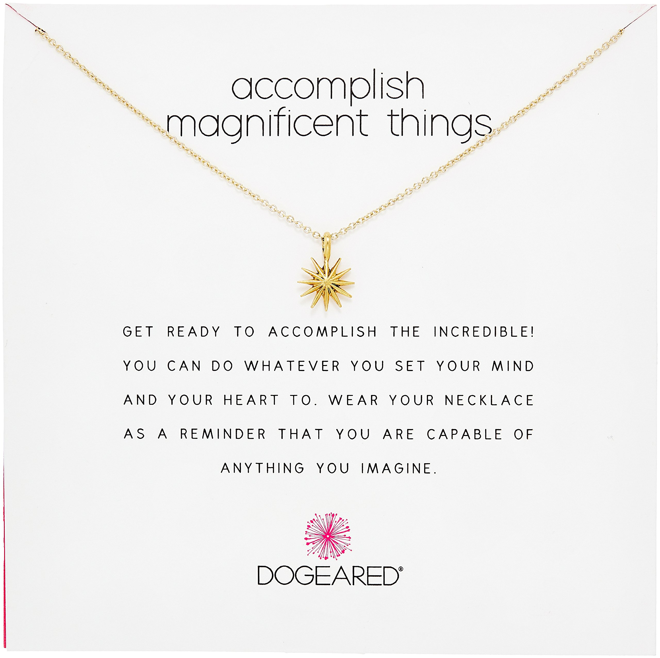 Dogeared Reminders Accomplish Magnificient Things Gold Dipped Sterling Silver Starburst Charm Necklace, 16''+2'' Extender