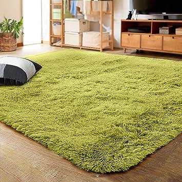 Amazon Com Lochas Ultra Soft Indoor Modern Area Rugs Fluffy Living Room Carpets For Children Bedroom Home Decor Nursery Rug 4x5 3 Feet Green Furniture Decor