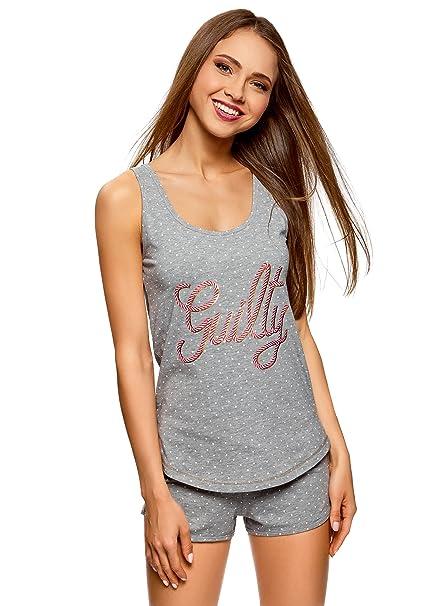 oodji Ultra Mujer Pijama con Camiseta de Tirantes y Pantalones Cortos, Gris, ES 38
