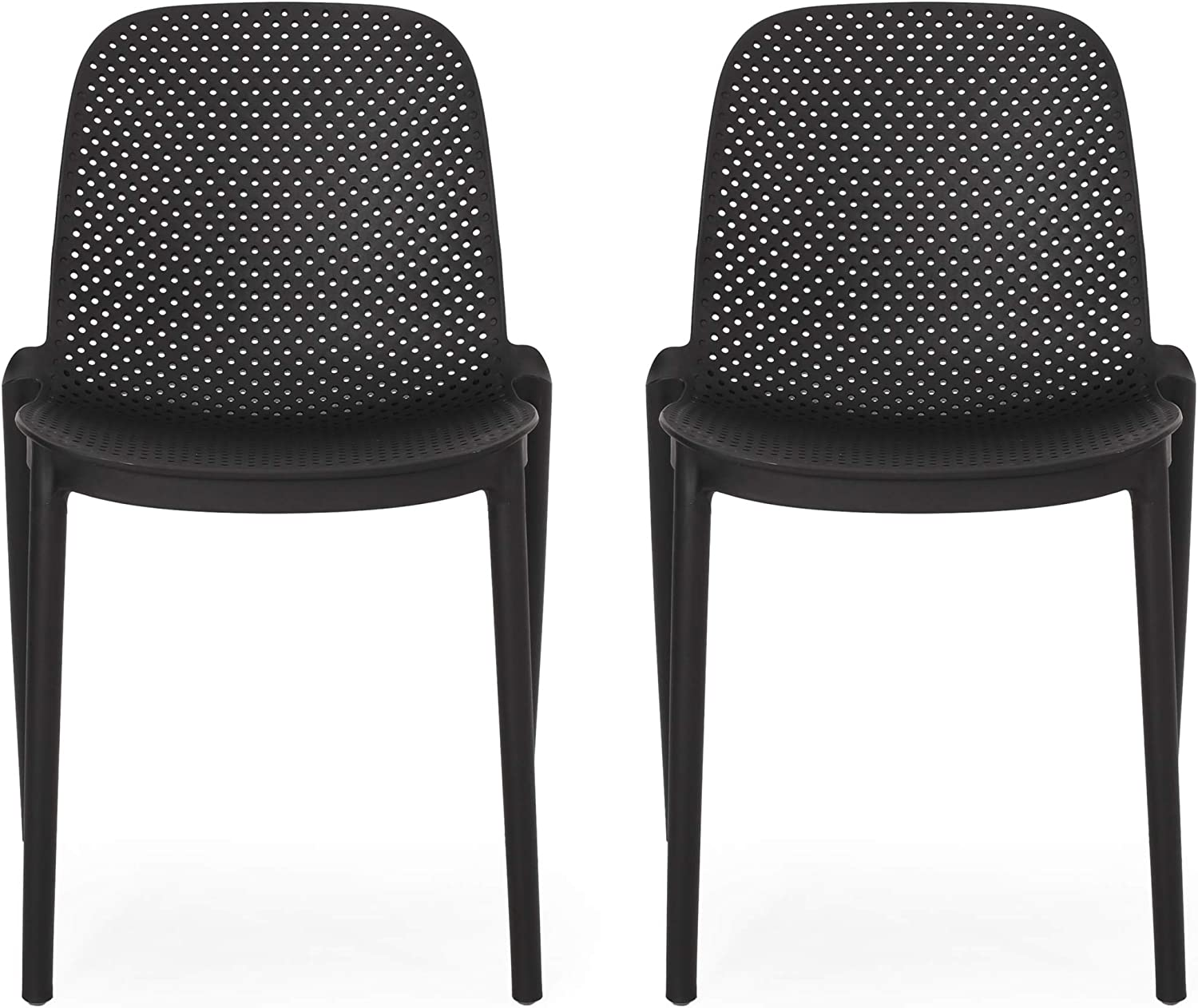 Christopher Knight Home 312244 Raevyn Outdoor Dining Chair (Set of 2), Black