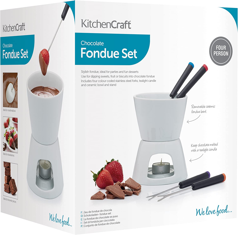 Kitchencraft Chocolate Fondue Set With Ceramic Pot