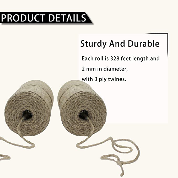 250g durable length garden heavy duty cord. Great Valued Jute String 2-3 mm thick rope roll 333ft crafts parcel packing Natural strong 3 ply Gift wrapping Garden Jute Twine 100m