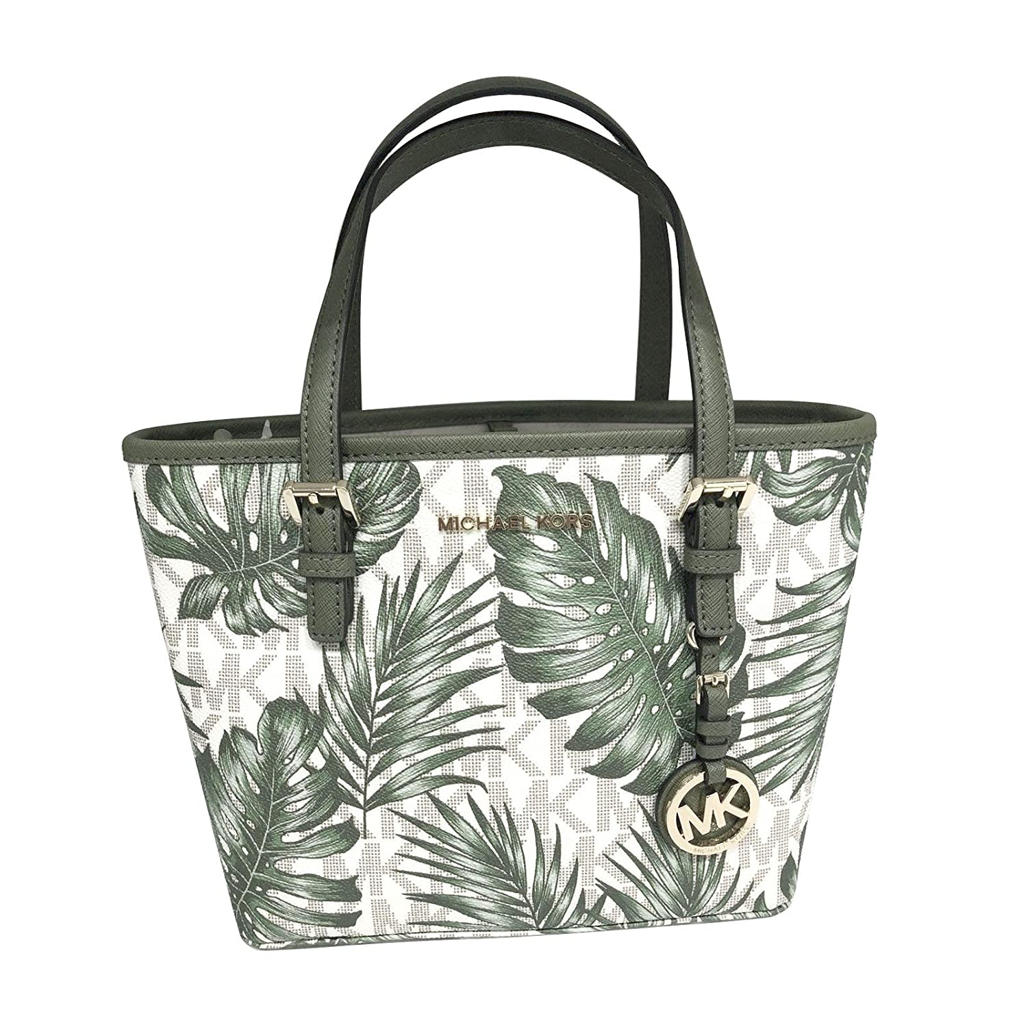 08106aaafe8441 Michael Kors Jet Set Travel XS Carryall Tote Palm Vanilla Olive PVC &  Leather: Amazon.co.uk: Shoes & Bags