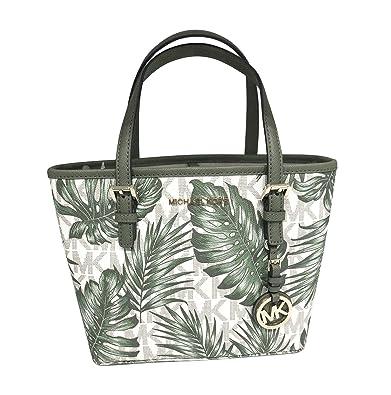 9935b5f3d583 Michael Kors Jet Set Travel XS Carryall Tote Palm Vanilla Olive PVC    Leather