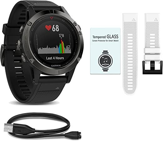 WhoIsCamera Garmin Fenix 5 Bundle – Includes Additional Quick Fit Band Screen Protectors More Accessories