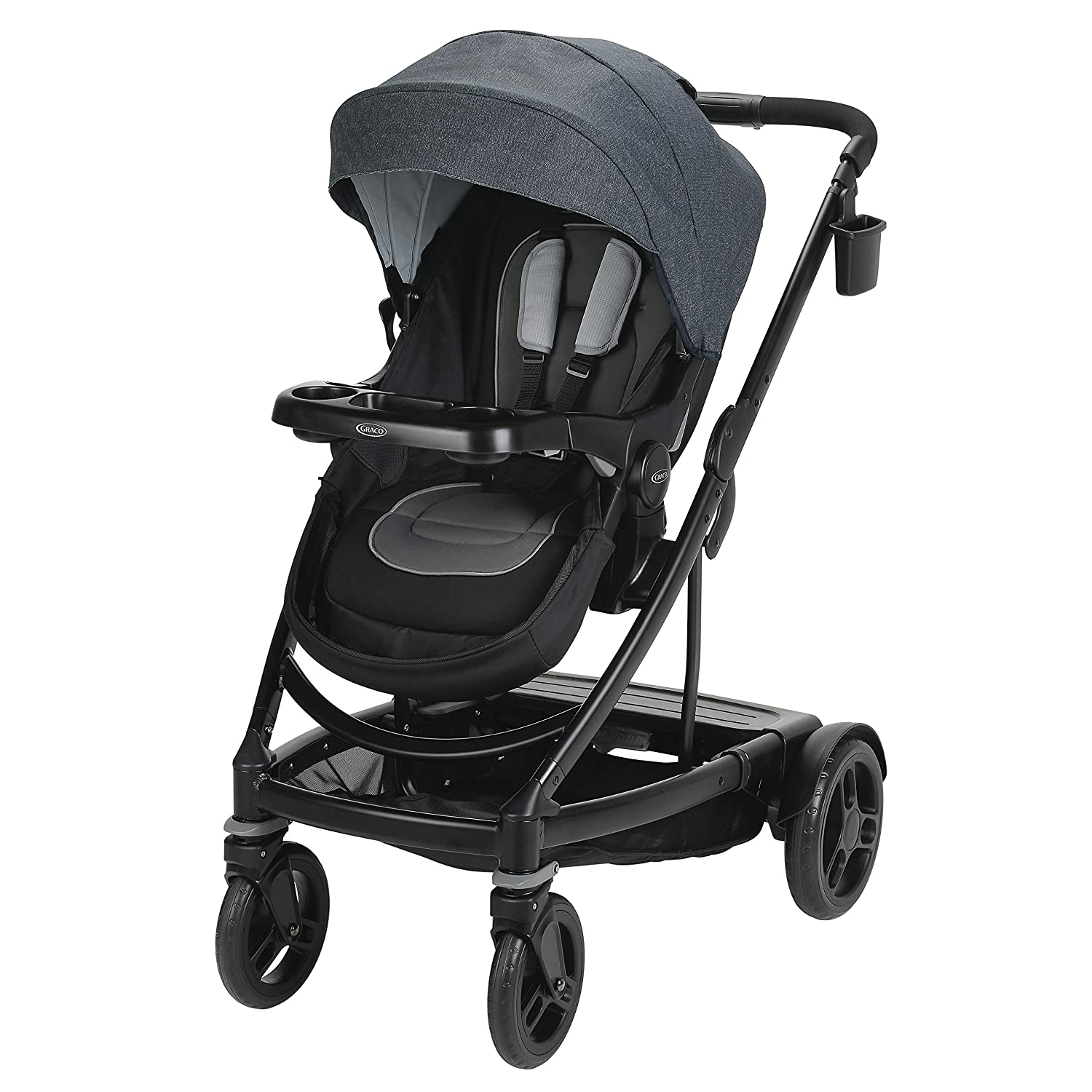 Graco Uno2Duo Travel System Includes UNO2DUO Stroller and SnugRide SnugLock35 Infant Car Seat, Goes from Single to Double Stroller, Hazel Pink Lining