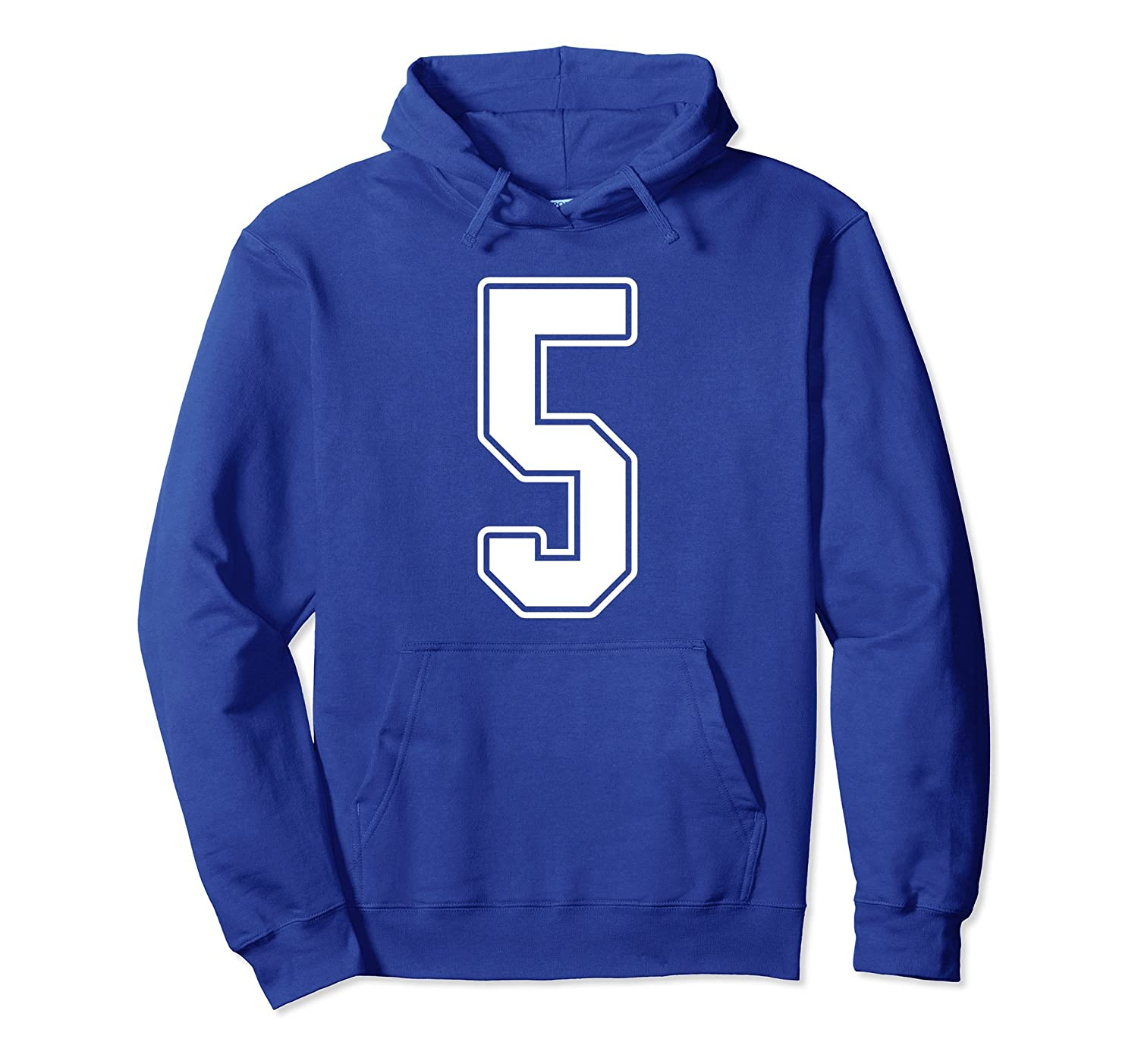 #5 White Outline Number 5 Sports Fan Jersey Hoodie-Rose