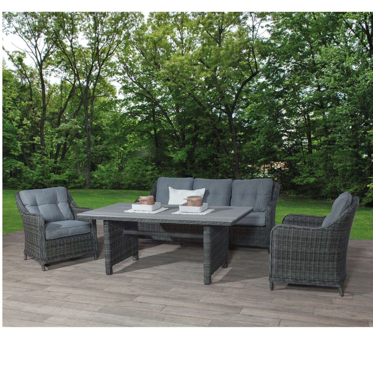 dining lounge set outliv milwaukee essgruppe garten polyrattan grau 4 teilig gartenlounge. Black Bedroom Furniture Sets. Home Design Ideas