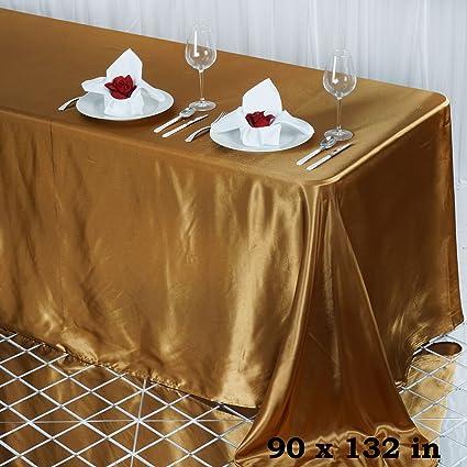 Efavormart 90x132 Rectangle Gold Wholesale Satin Tablecloth Banquet Linen Wedding Party Restaurant Tablecloth