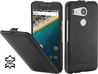 StilGut UltraSlim Case, Custodia in Pelle per Google Nexus 5X, Nero