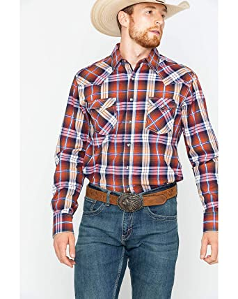 cb58974e Wrangler Men's Retro Rust Plaid Western Shirt at Amazon Men's ...