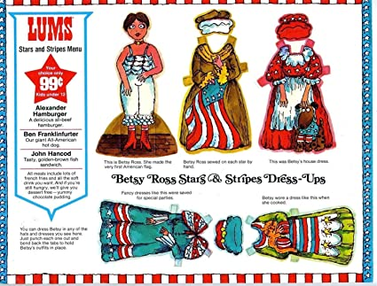 Amazon LUMS Stars Stripes Kids 99 Cent Menu Betsy Ross Paper Dolls 1970s Everything Else
