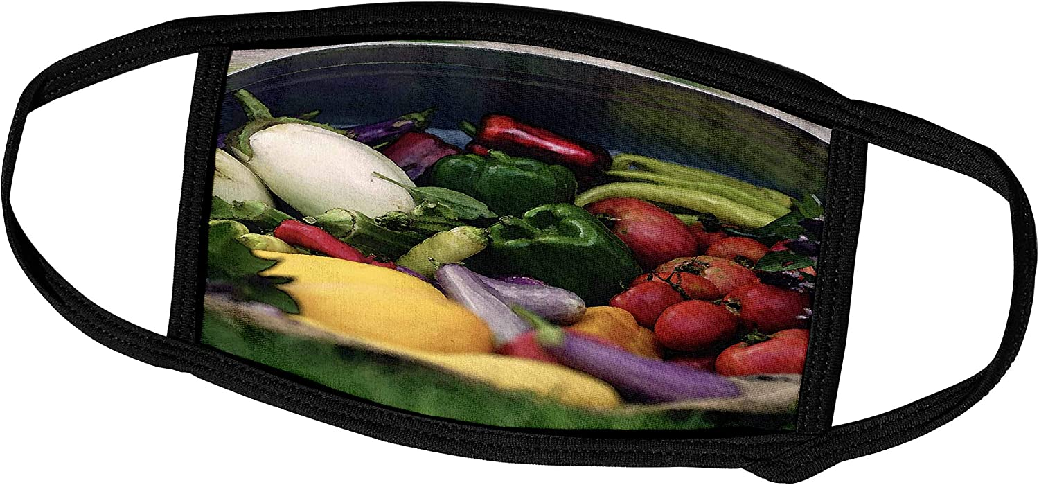 3dRose Photograph of a tin Overflowing with Fresh Veggies from Our. - Face Masks (fm_290794_1)