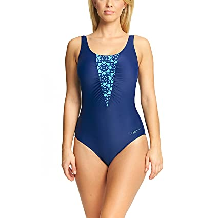 339531dd10369 Amazon.com : Zoggs Womens Craftwork Ruched Swimsuit - Navy - 12 ...