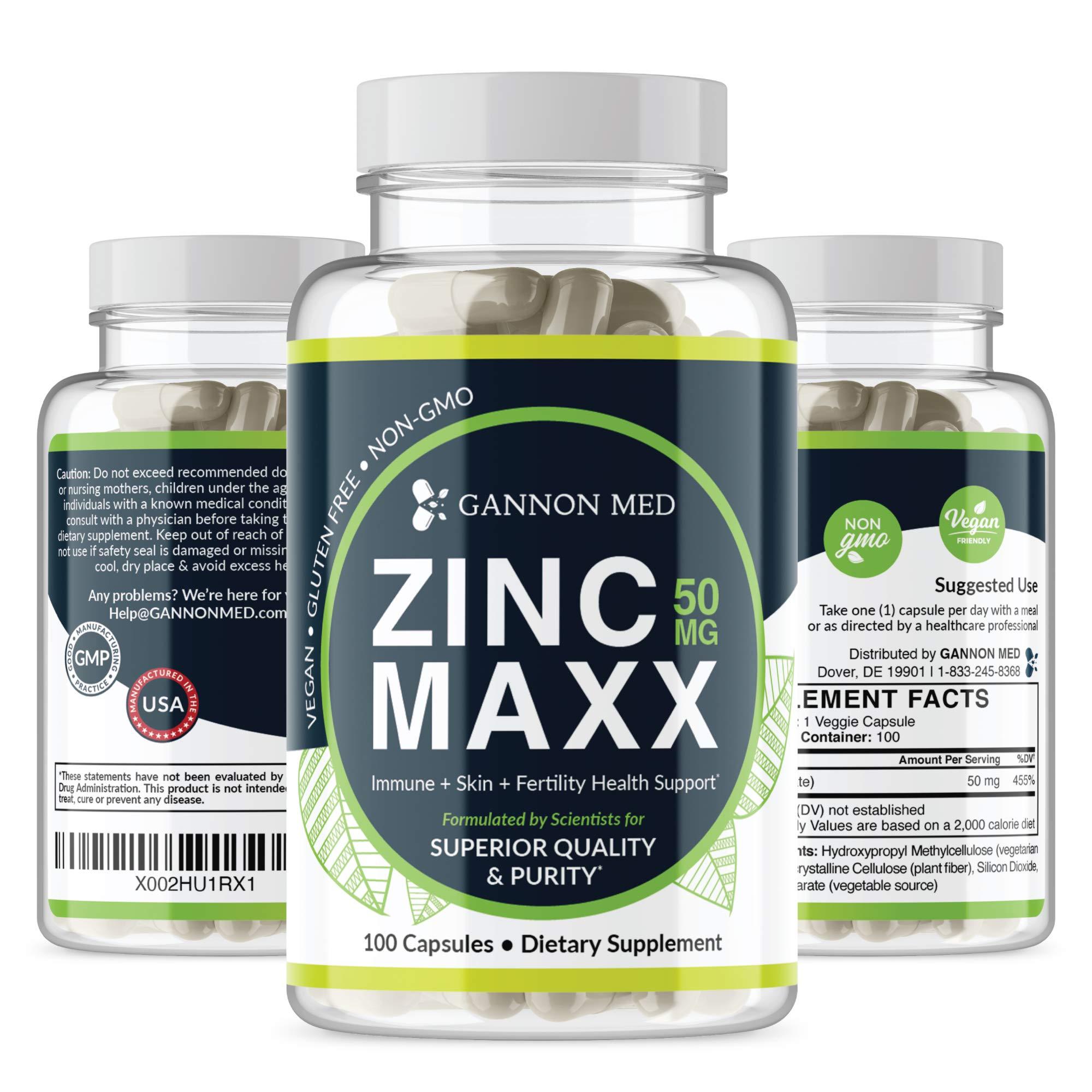 Zinc Maxx - Maximum Zinc Gluconate 50 mg per dose - 100 Day Supply - High Potency & Absorbance - Gentle On Stomach - Professional Grade - Antioxidant - Vegan - Additive Free - Non-GMO - USA (1 Pack)