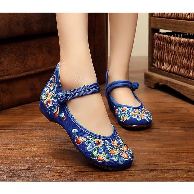 KAFEI Lady bestickte Schuhe Stickerei ein Wort schnalle riemen tendon Base hang mit der Ehe runden Kopf täglich, 36, Rot