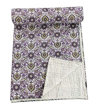Bedding Home & Garden Search For Flights Indian Kantha Throw Floral Print Vintage Quilt Reversible Bedspread Cotton Gudri