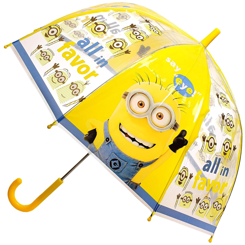Unbekannt Regenschirm -  Minions - ich einfach unverbesserlich  - inkl. Name - Kinderschirm Ø 70 cm / durchsichtig & durchscheinend - transparent - Kinder - groß Stoc.. Unbekannt - Regenschirm - Minions - ich einfach unverbesserlich