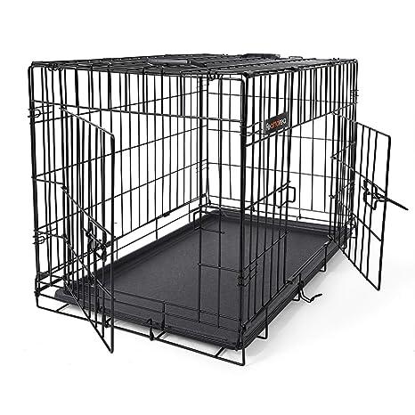 FEANDREA Jaula metálica para Perros Transportín Plegable para Mascotas Negro L 75 x 47 x 54