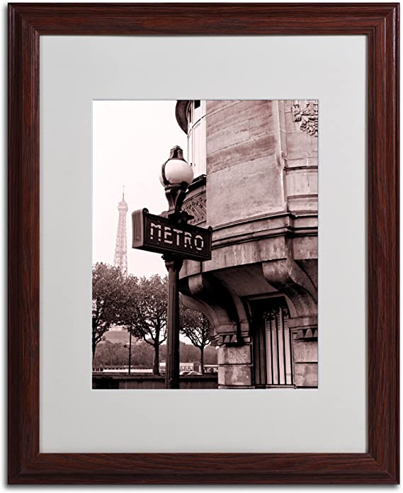 Amazon Com Metro And Eiffel Framed Art By Kathy Yates Wood Frame 16 By 20 Inch Artwork Wall Art