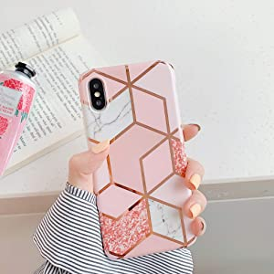"Cocomii Geometric Marble iPhone Xs Max Case, Slim Thin Glossy Soft TPU Silicone Rubber Gel Shiny Reflective Streaks Fashion Bumper Cover Compatible with Apple iPhone Xs Max 6.5"" (Pink/Glitter)"