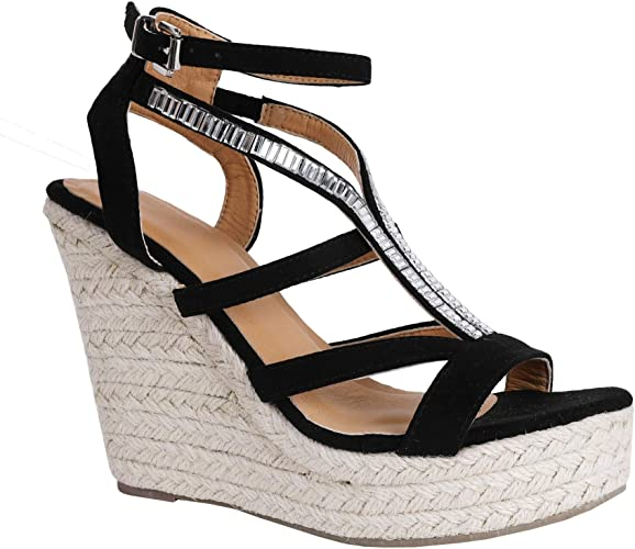 ladies gladiator wedge sandals womens diamante buckle shoes fashion summer party