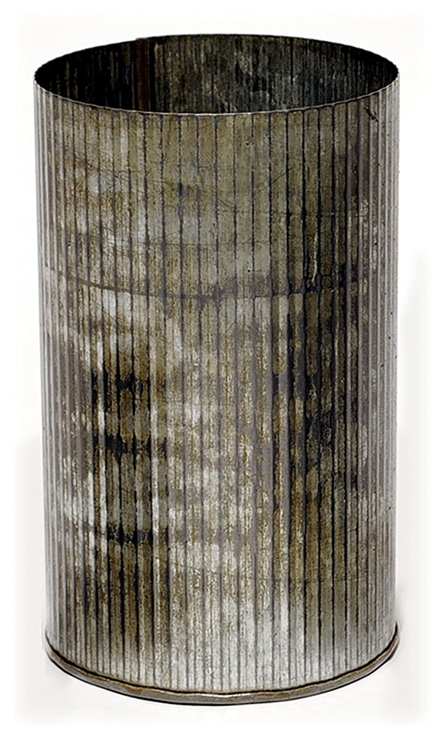 Zinc cylinder farmhouse vase with corrugated metal. #frenchfarmhouse #zincvase #homedecor #frenchcountry