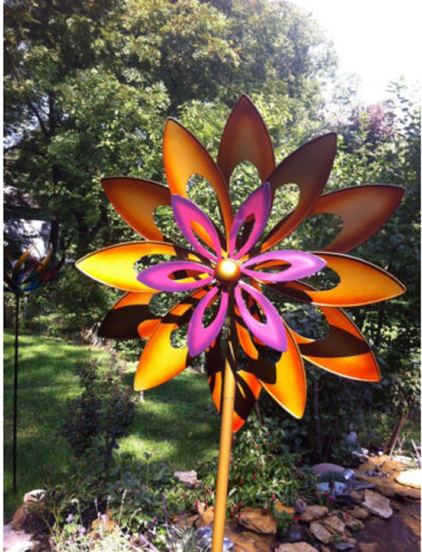 USA Premium Store large 2 ft Kinetic wind Sculpture Modern Art Dual spinner metal outdoor Pinwheel by USA Premium Store (Image #1)