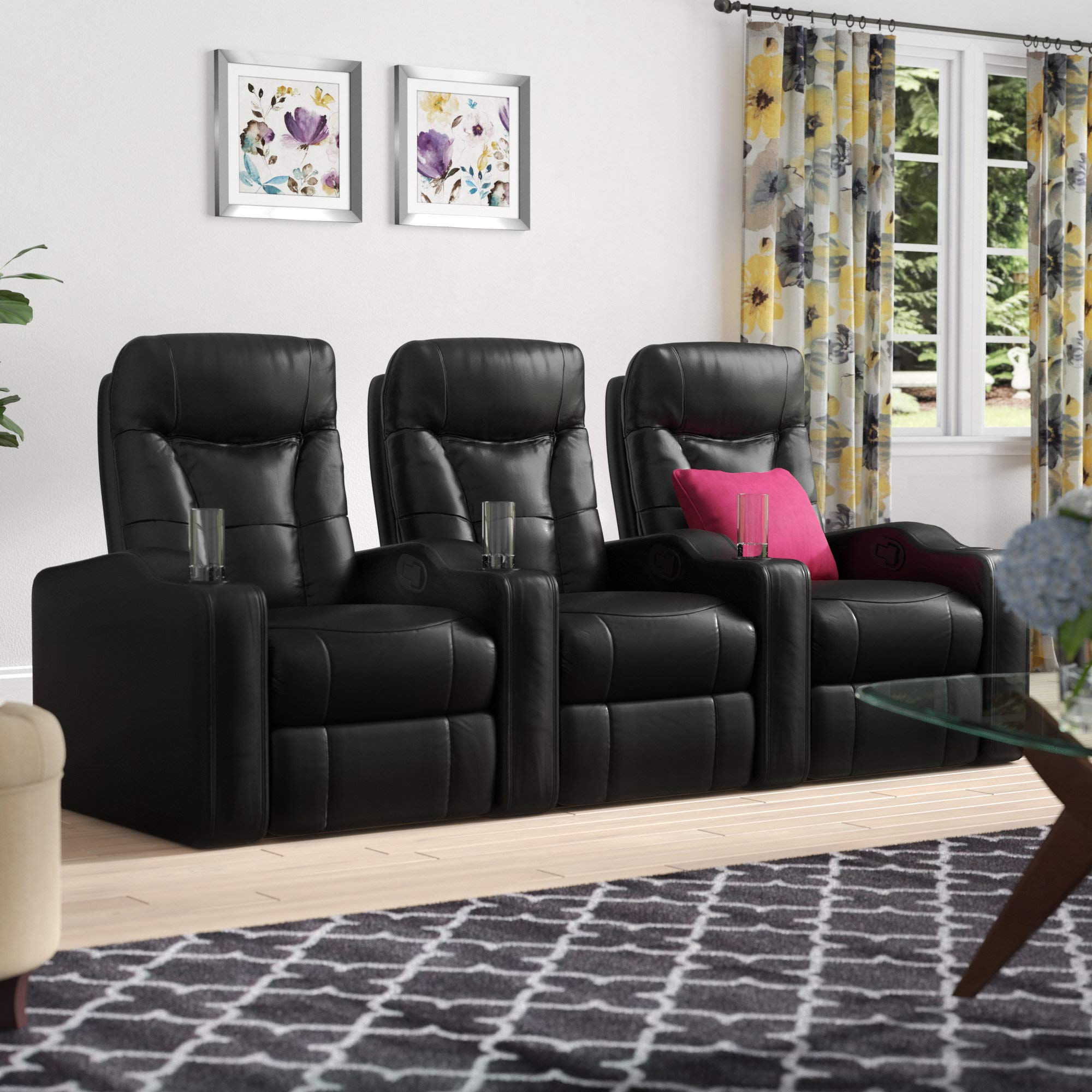 3 Seats Recliner Chair W/Built-in Cup Holders Console, Black Modular Sectional Home Theater Seating by OuchTek