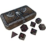 Skull Splitter Dice Whispers of The Void Metal Dice - Shiny Black Nickel with Purple Numbers | Solid Metal Polyhedral Role Playing Game (RPG) Dice (7 Die in Pack) with Dwarven Chest Dice Case