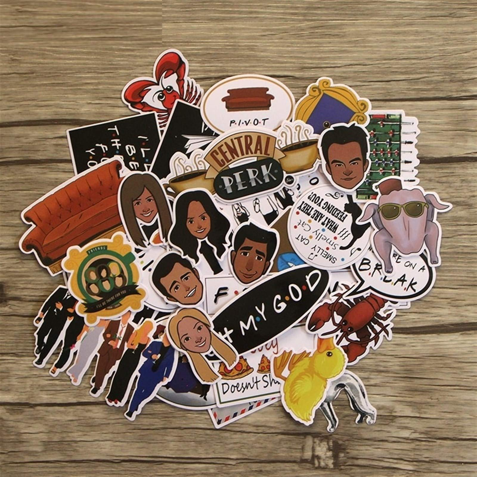 Your store 33pcs Friends tv Show Funny Creative Badges DIY Decorative Stickers Cartoon PC Wall Notebook Phone Home Garden by Your store (Image #5)