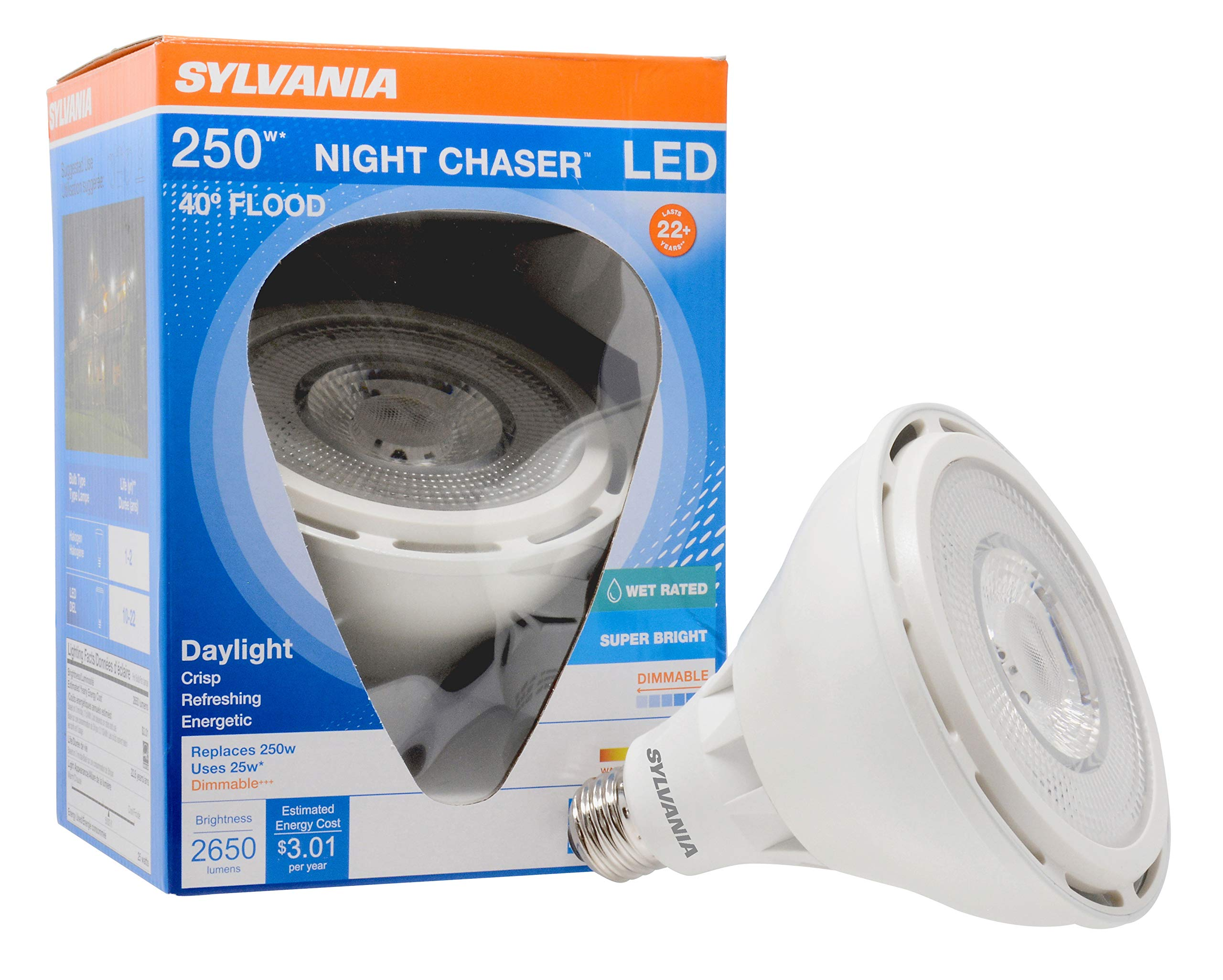SYLVANIA Ultra LED Night Chaser, PAR38, 250W Equivalent, 2650 Lumen, Replacement for Halogen Flood Spot Light, Medium Base E26, Dimmable, 5000K Daylight