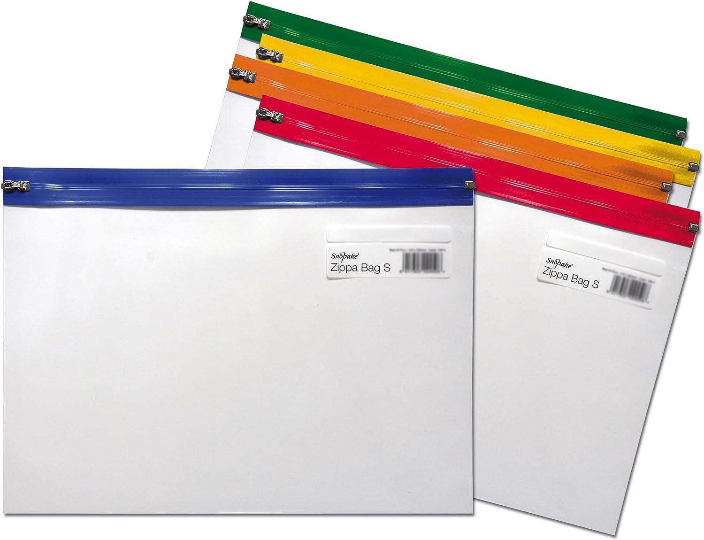 Snopake Zippa Bag 'S' - Bolsa con cierre por cursor (5 unidades, A4+, 370 x 260 mm), diseño transparente, multicolor