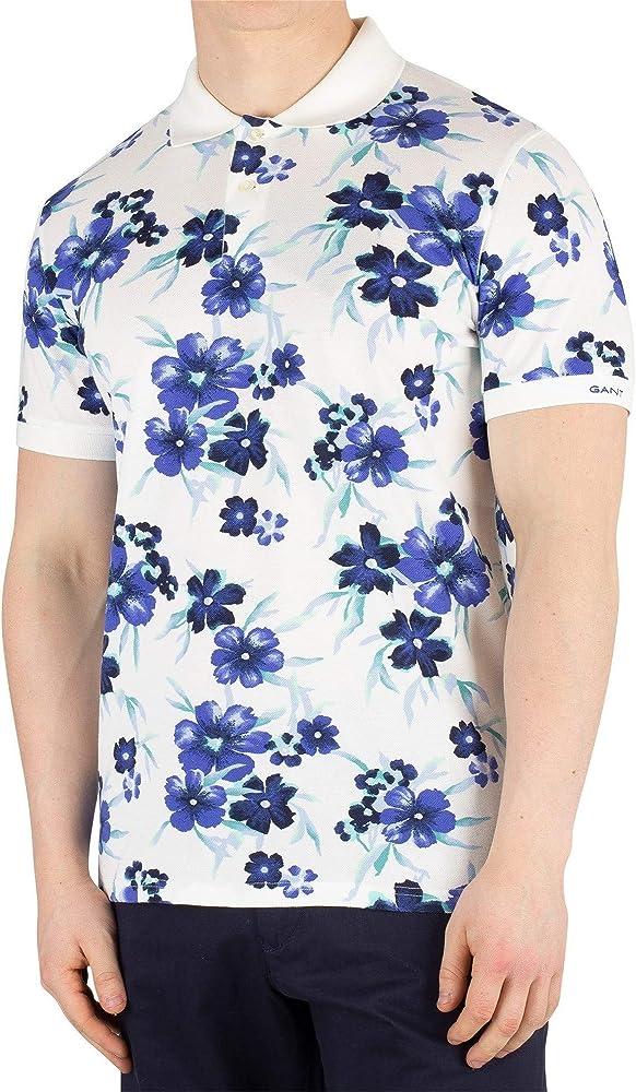 GANT de los Hombres Todo sobre Floral Pique Rugger Poloshirt, Blanco, M: Amazon.es: Ropa y accesorios