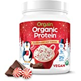 Peppermint Hot Cocoa Organic Protein Powder by Orgain - Seasonal Chocolate Holiday Flavor, Vegan, Plant Based, 21g of Protein