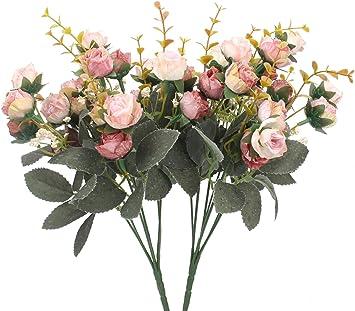 18 Heads Silk Rose Artificial Flowers Fake Bouquet Home Party Wedding Decor D5A0