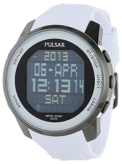 Pulsar PQ2015 - Reloj de pulsera hombre, caucho, color blanco: Amazon.es: Relojes