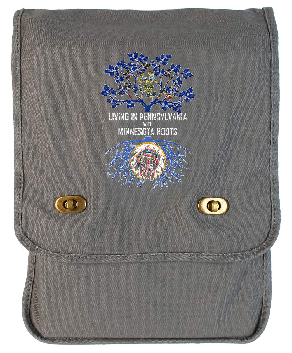 Tenacitee Living In Pennsylvania with Minnesota Roots Grey Brushed Canvas Messenger Bag