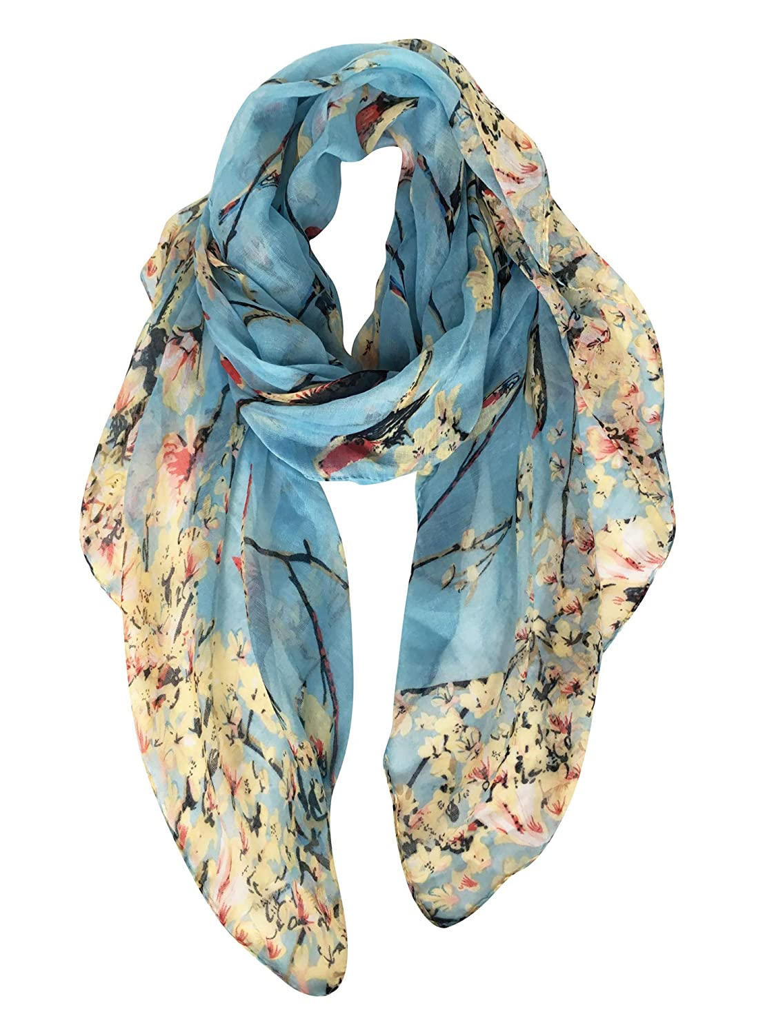 GERINLY - Lightweight Floral Birds Print Shawl Scarf For Holiday Season 320-6e566d0