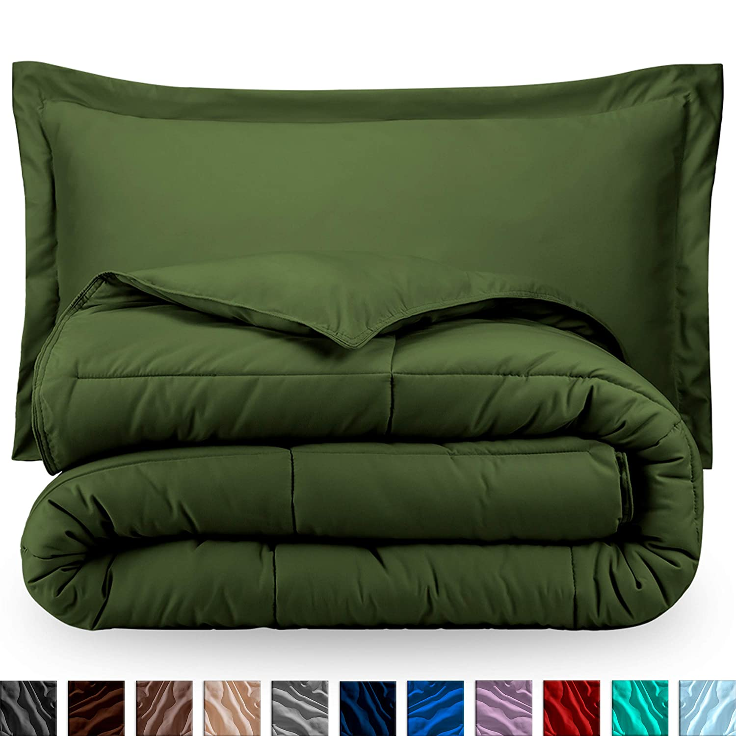 Bare Home Comforter Set - Twin/Twin Extra Long - Goose Down Alternative - Ultra-Soft - Premium 1800 Series - Hypoallergenic - All Season Breathable Warmth (Twin/Twin XL, Cypress Green)