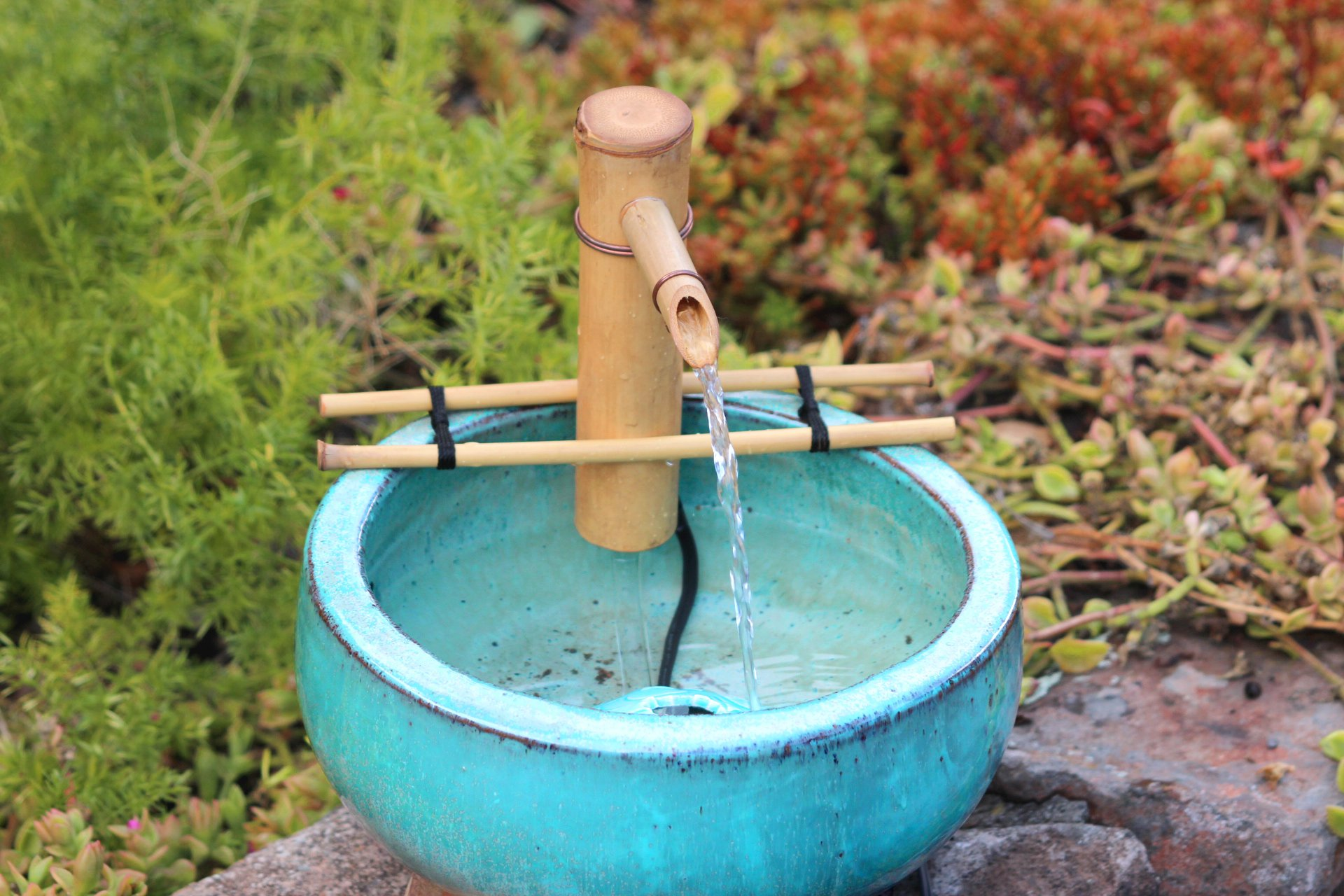 Bamboo Accents 7 Inch Adjustable Branch Arm Natural Bamboo Fountain and Pump Kit for Use with Any Container. Split Resistant, Handmade, Indoor Outdoor by Bamboo Accents
